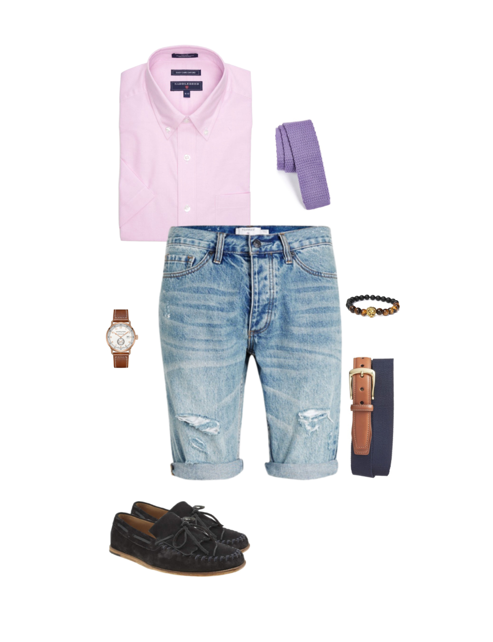 dress-casual-with-denim-shorts