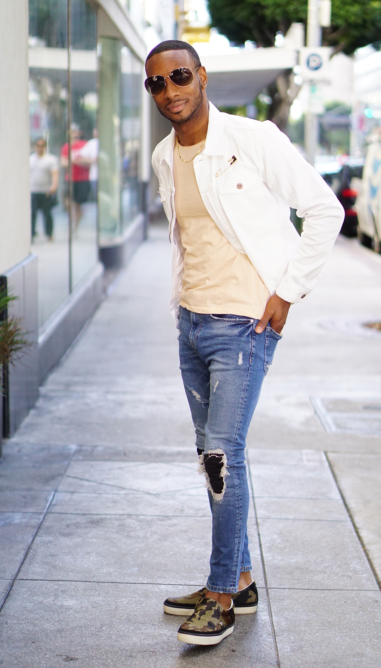 Ootd white denim jacket norris danta ford for White pants denim shirt