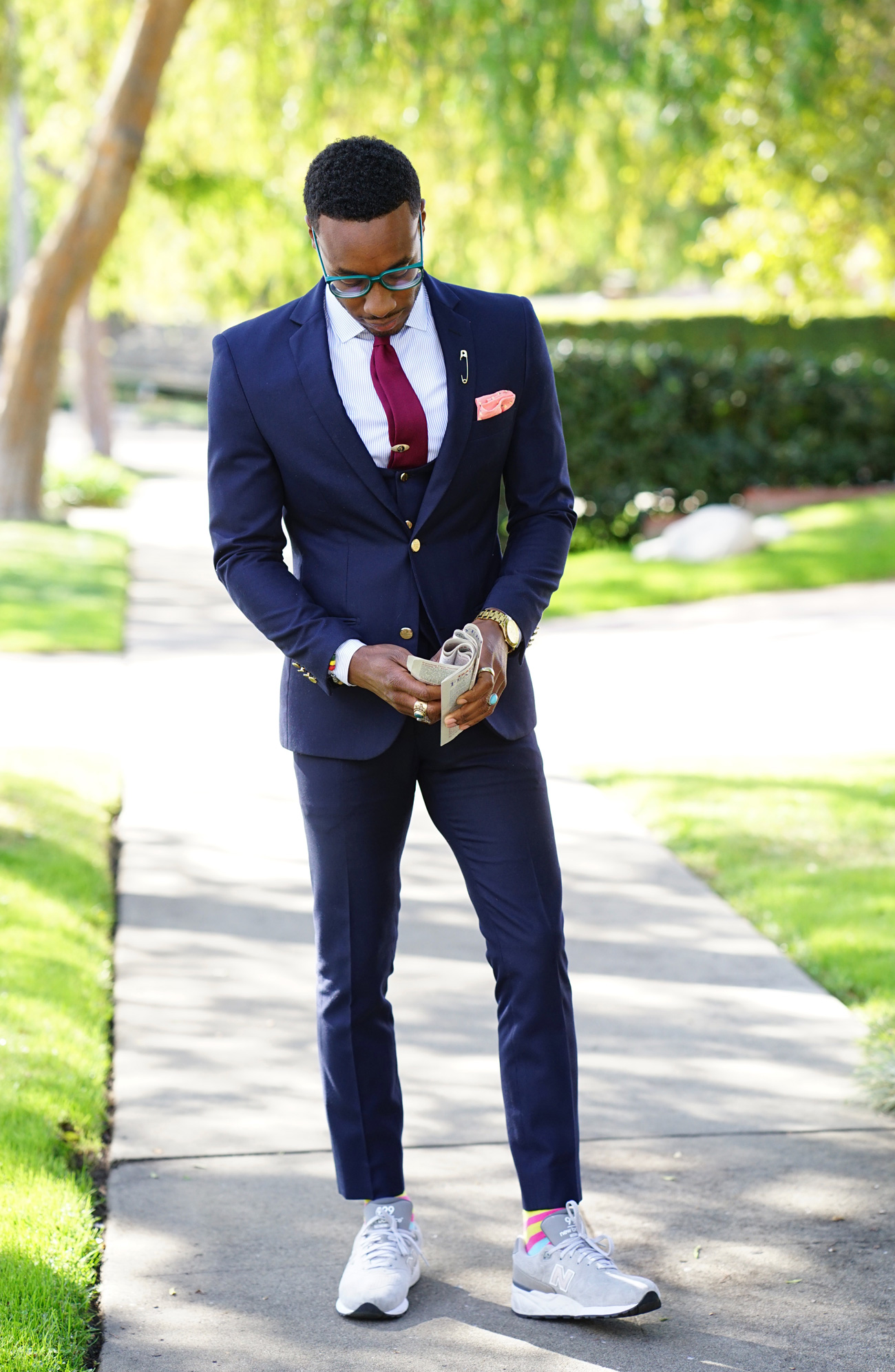 BUSINESS SUIT STYLED WITH NEW BALANCE
