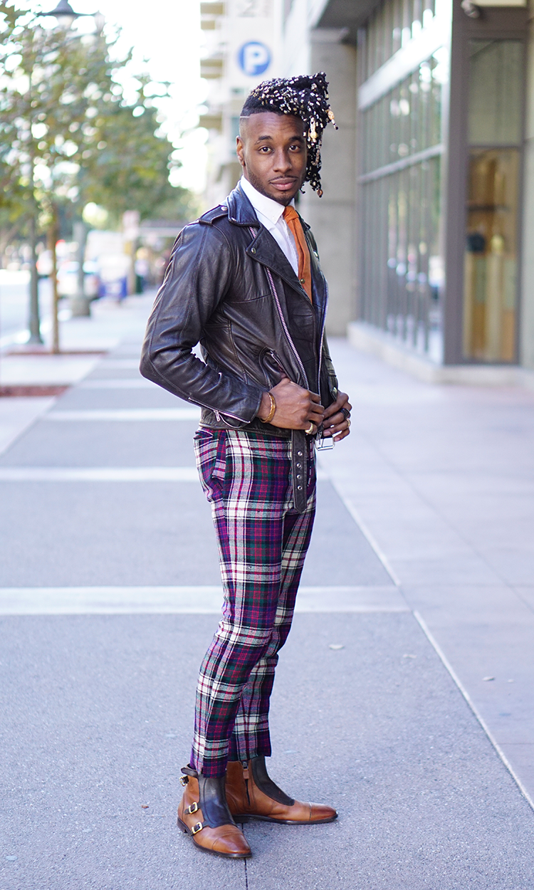 Ootd Plaid Pants Leather Jacket Norris Danta Ford