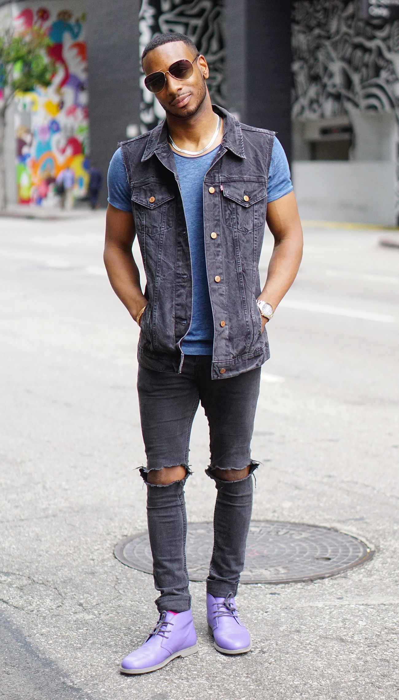 ootd black denim vest  scoop neck tee – norris danta ford