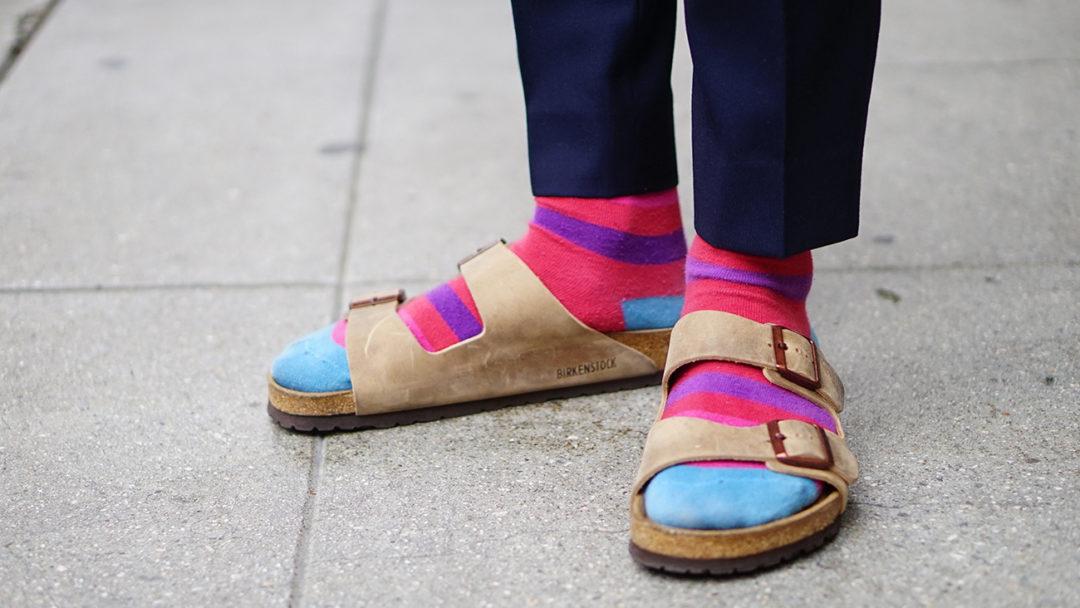 Image result for birkenstock sandals with colorful socks