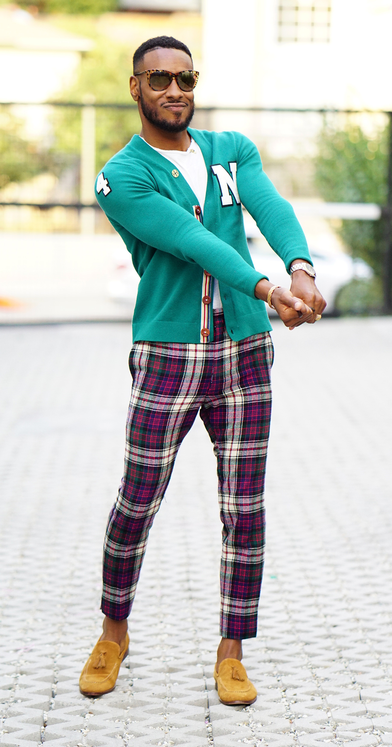 Diy Ivy League Cardigan Plaid Pants Loafers Norris