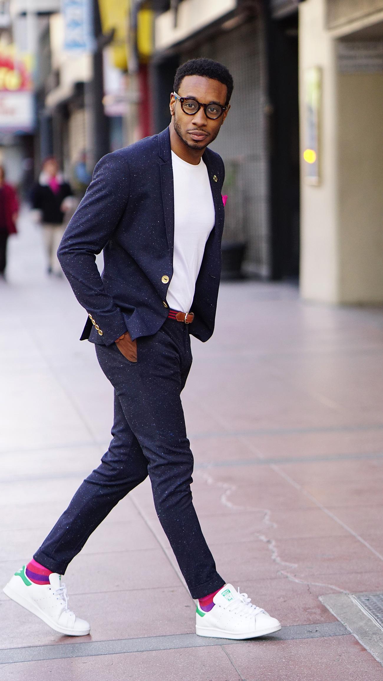 Ootd Tweed Suit White Tee Stan Smith Adidas Norris
