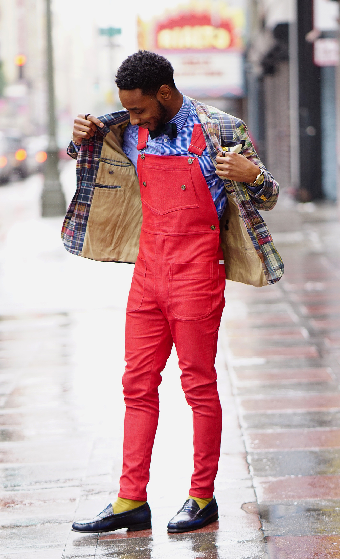 diy fire red overalls sports coat bow tie � norris