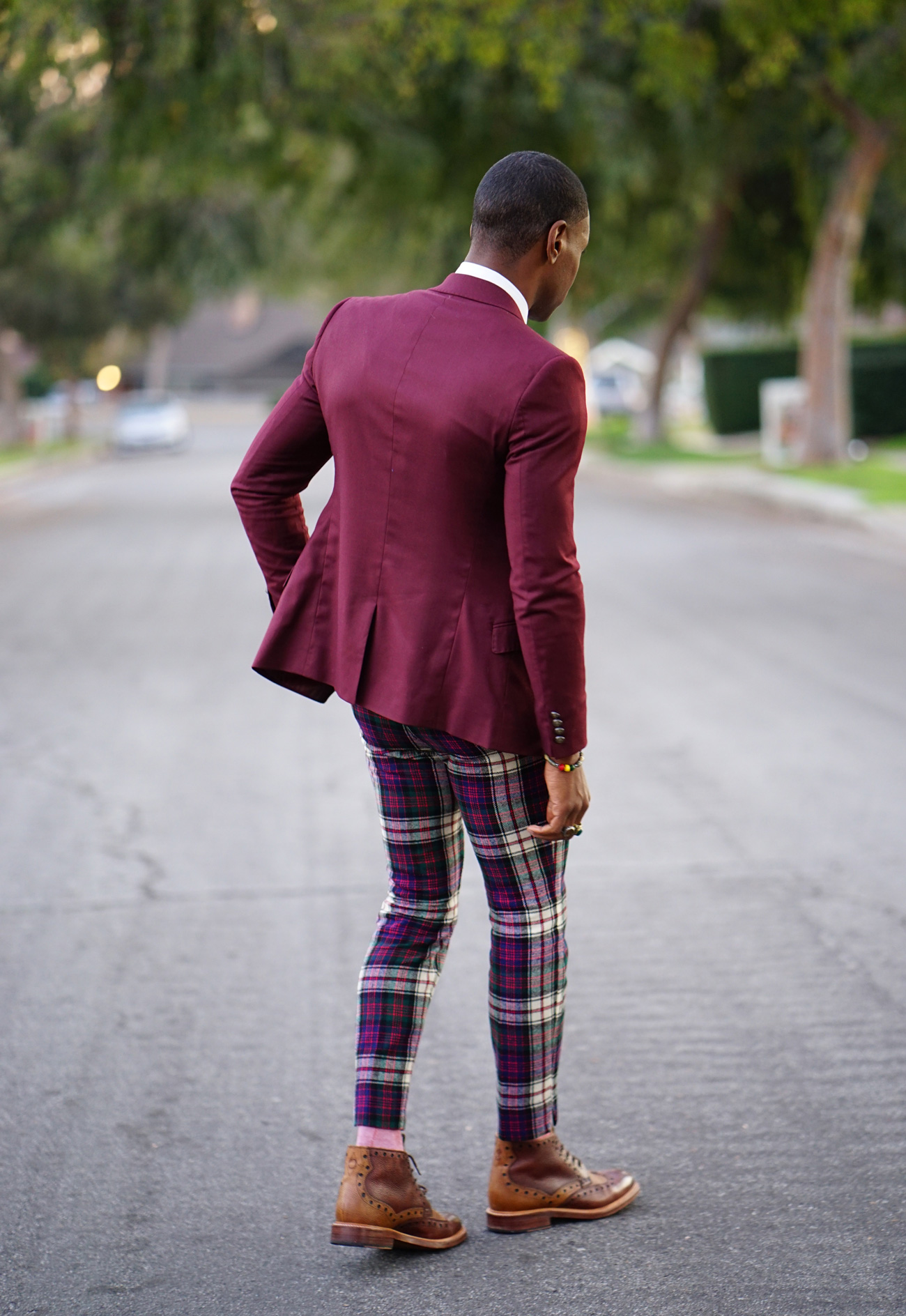 Ootd Mixing Suit Jacket W Vintage Plaid Pants Norris