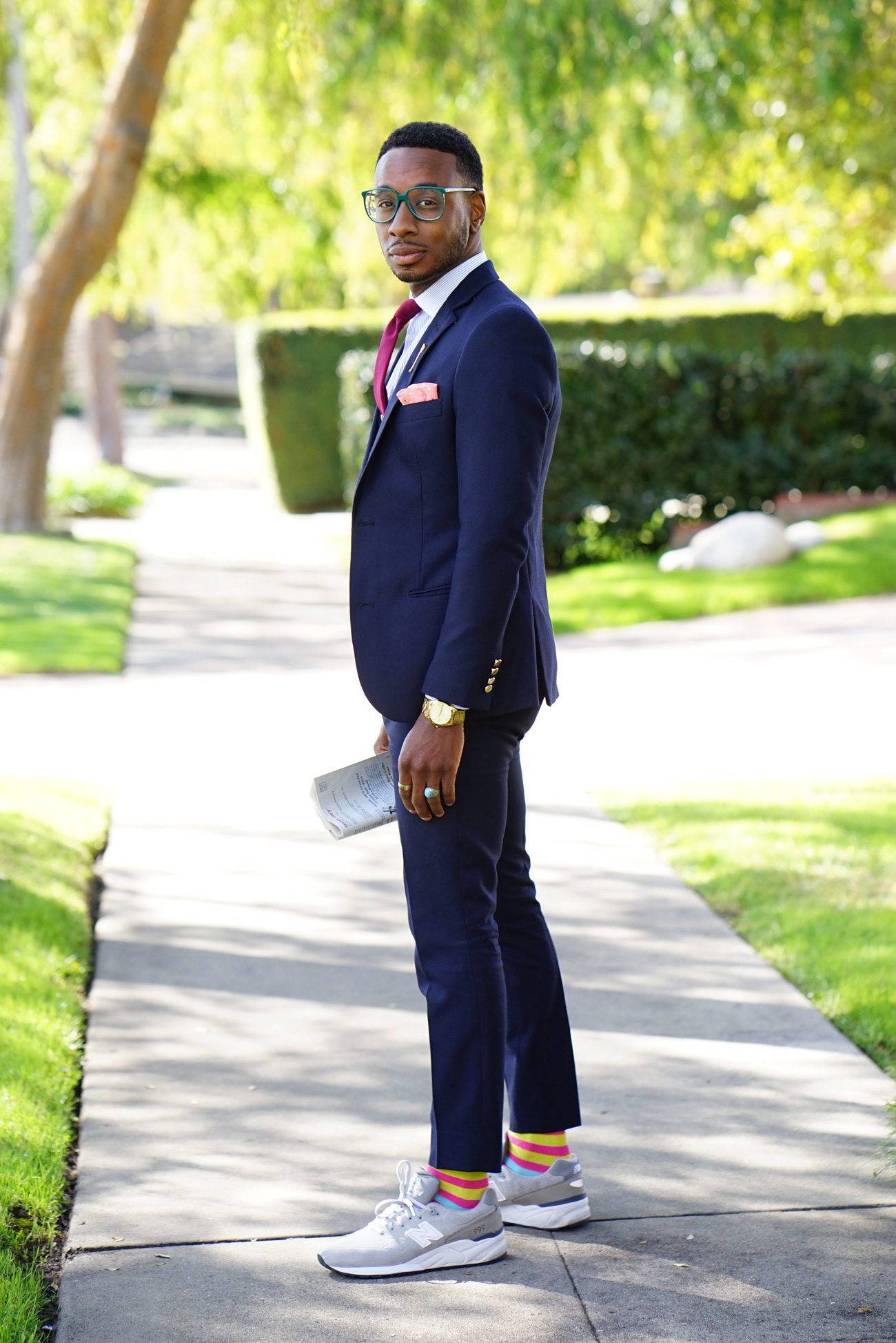 business suit styled with new balance sneakers  u2013 norris